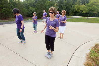 Candace H. Johnson-for Shaw Media Andrea Vigue, of Libertyville (center) does some line dancing with other dancers during Dancing in the Park with the Dress Up & Dance! On the Move mobile dance organization at Townline Community Park in Lake Forest. Vigue also danced with her husband, Jerry, to Ballroom and Latin music.  (9/26/21)