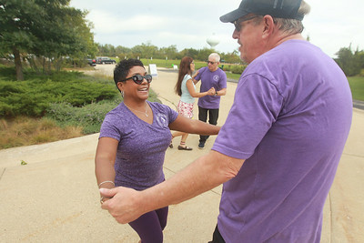 Candace H. Johnson-for Shaw Media Angela Hill, owner and instructor, dances with Jim Whitton, of Great Lakes during Dancing in the Park with the Dress Up & Dance! On the Move mobile dance organization at Townline Community Park in Lake Forest. Music was played for Ballroom and Latin dancing.  (9/26/21)