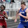 Geneva's Doug Davis competes in the 100-meter dash Saturday during the Mike VanDeveer Invitational at Geneva High School. (Jeff Krage photo for Shaw Media)