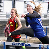 St. Charles North's Alexa Prejna competes in the 100-meter hurdles Saturday during the Mike VanDeveer Invitational at Geneva High School. (Jeff Krage photo for Shaw Media)