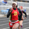 Batavia's Leah Narup competes in the 100-meter dash Saturday during the Mike VanDeveer Invitational at Geneva High School. (Jeff Krage photo for Shaw Media)