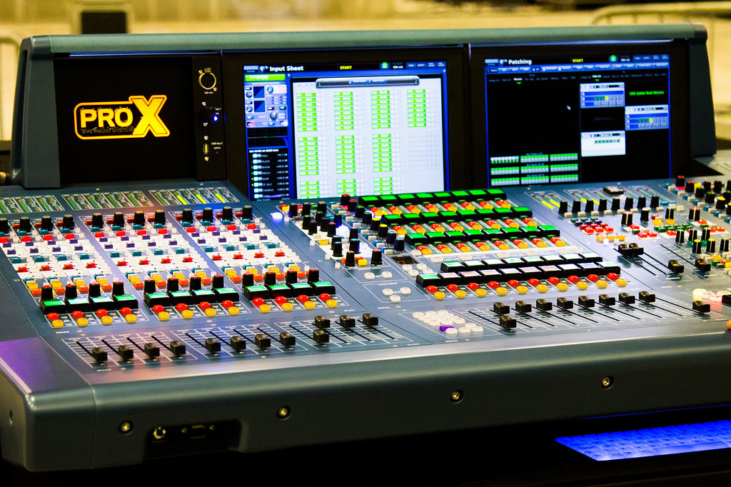 The front house soundboard to manage all the audio that the audience will hear.