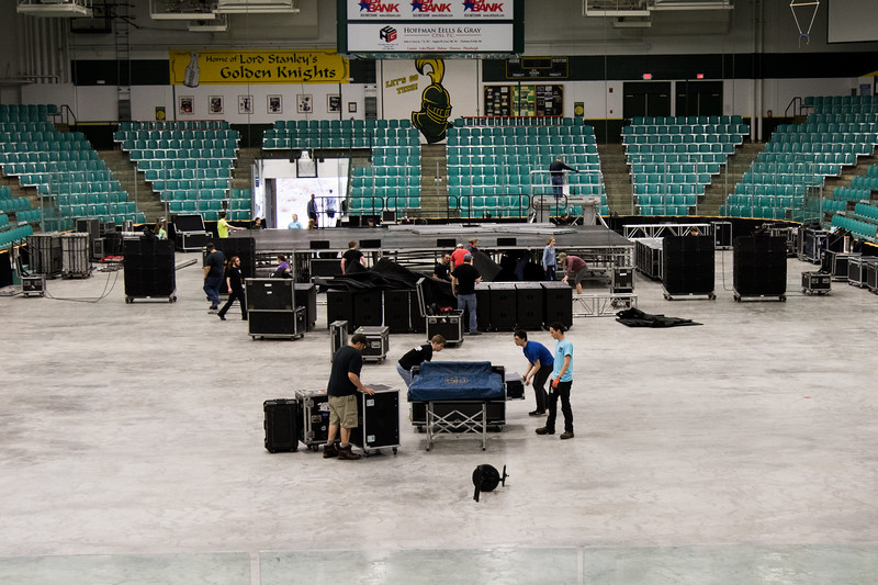 Early on with the setup in Cheel Arena. Only the stage is set up with some equipment starting to be brought out.