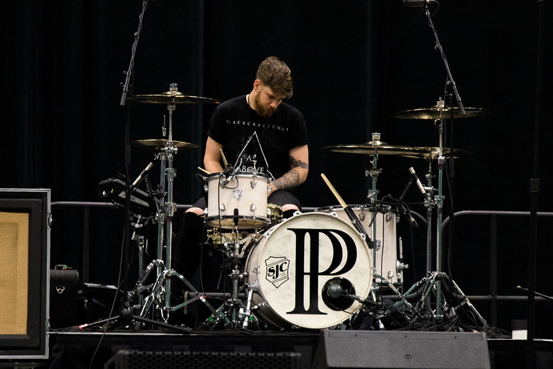 The PVRIS drummer testing setting up and testing the sound during the soundcheck before the concert