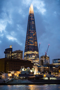 The Shard lit up at Dusk