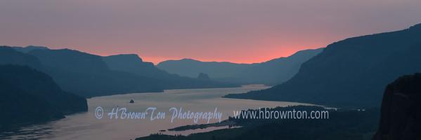 Pre-dawn glow over Columbia River Gorge