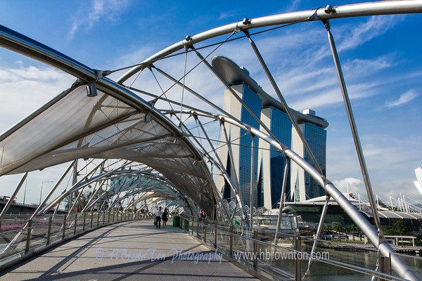 Double Helix Bridge to Marina Bay Sands Hotel