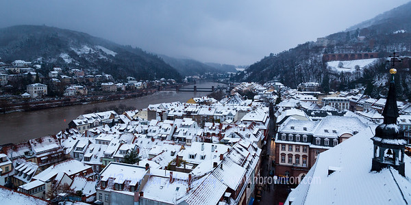 First snowfall over Heidelberg