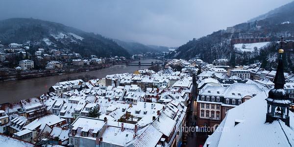 First snowfall over Heidelberg