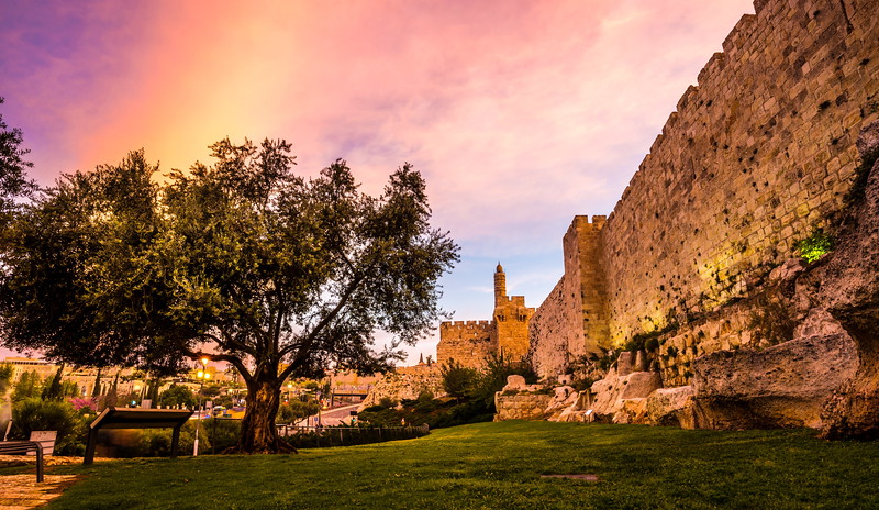 Tower of David and the Old City wall at sunrise