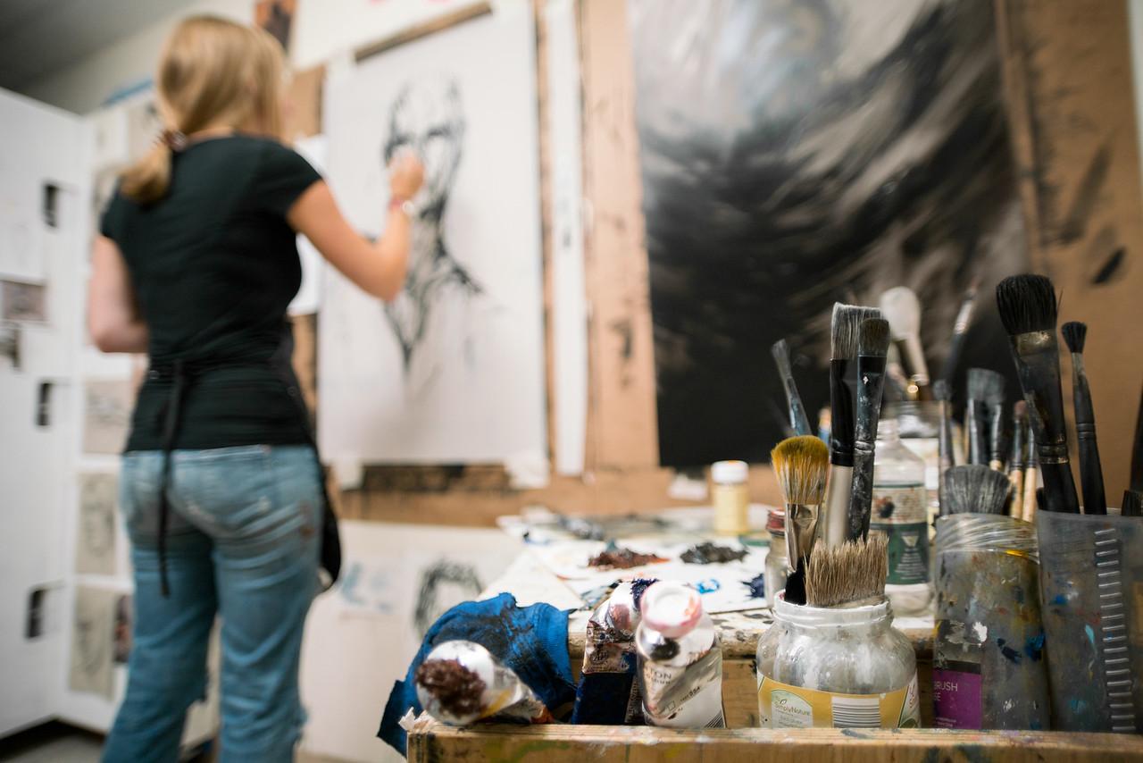 Anna Schierbeek ('16 BFA Painting) working in her studio