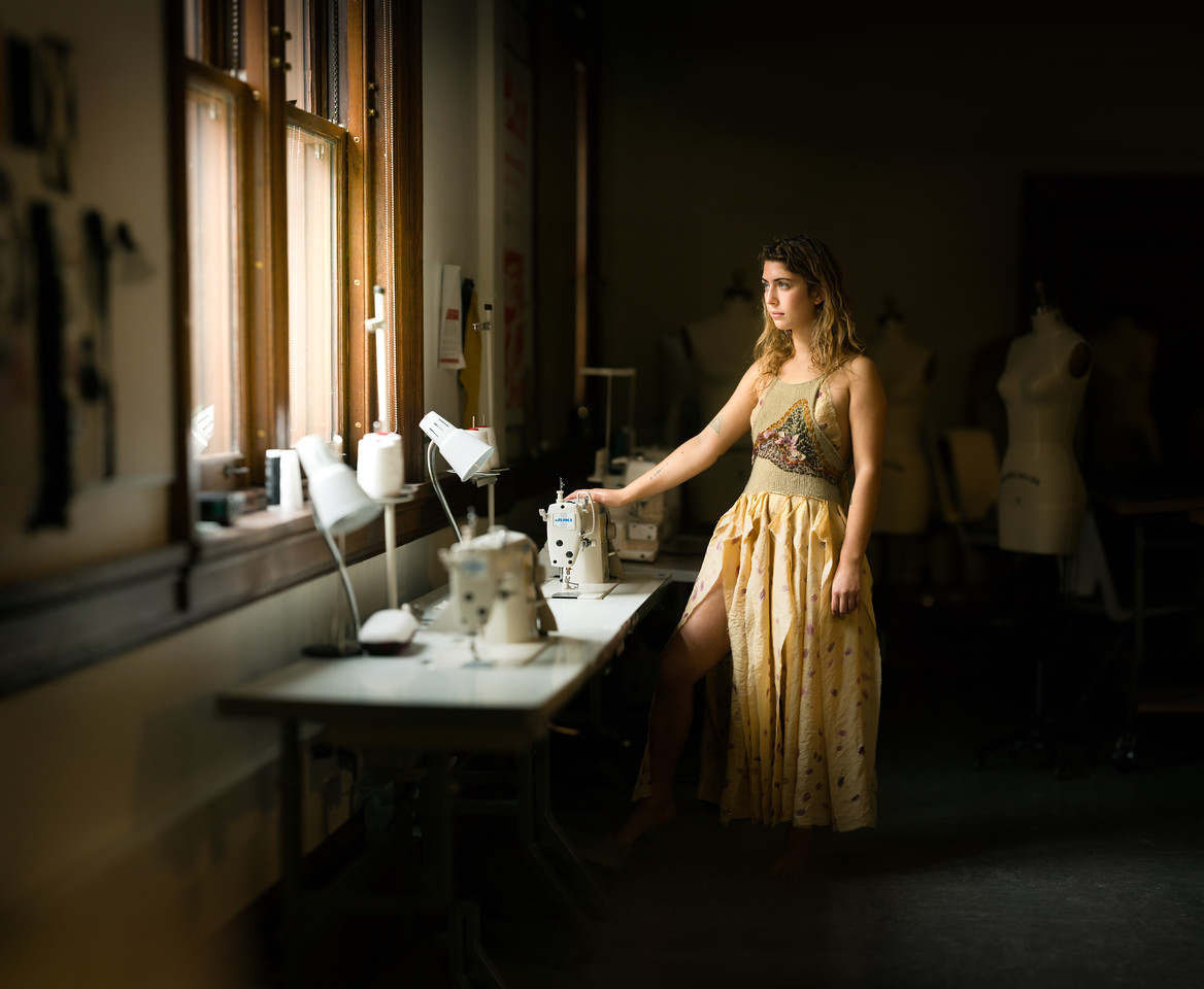 Alyssa Natoci (BFA Fashion Studies) modelling her work