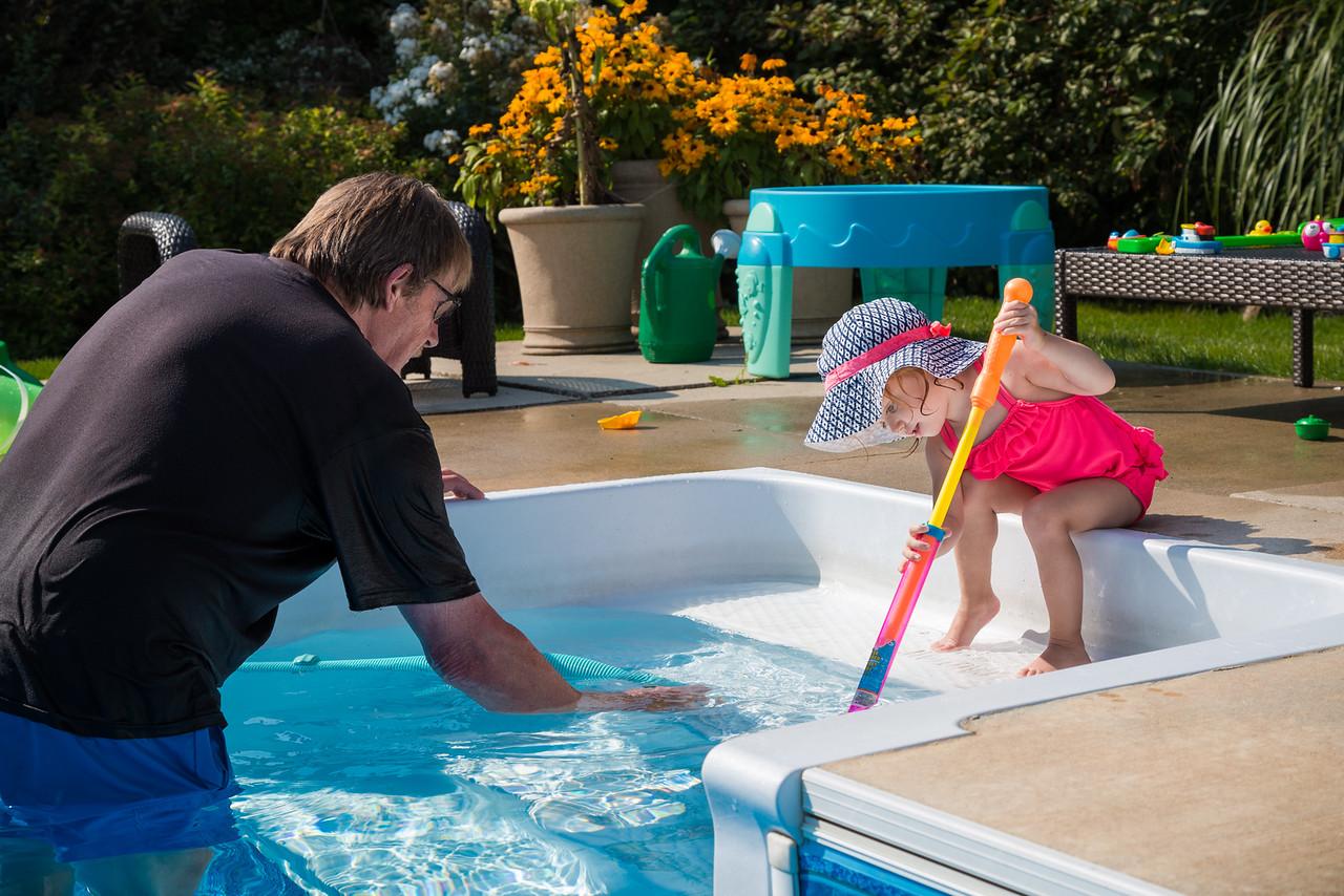 Helping Grandpa Clean the Pool Steps
