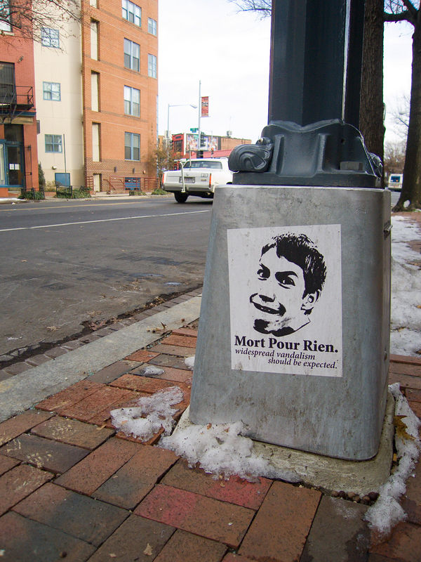 """borf poster """"Mort Pour Rien"""" (for the victims that sparked the French riots? thanks Dean) - 1800 block of Florida Avenue NW"""