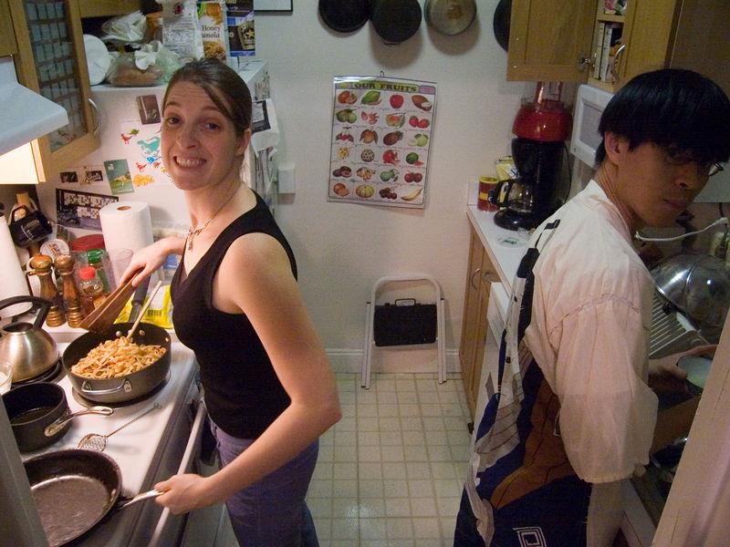 Rachel on noodles, Jason on dishes