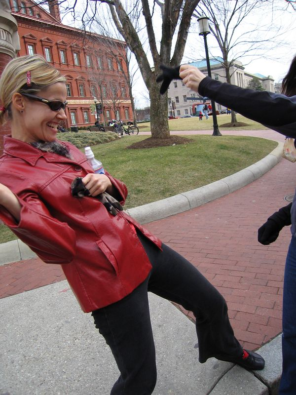 laura suffers a glove attack behind the national building museum