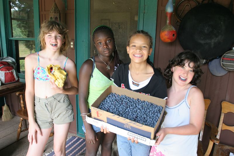debra, markitta, keana and clara had just picked this haul of blueberries, all of which were consumed in muffins for breakfast the next morning