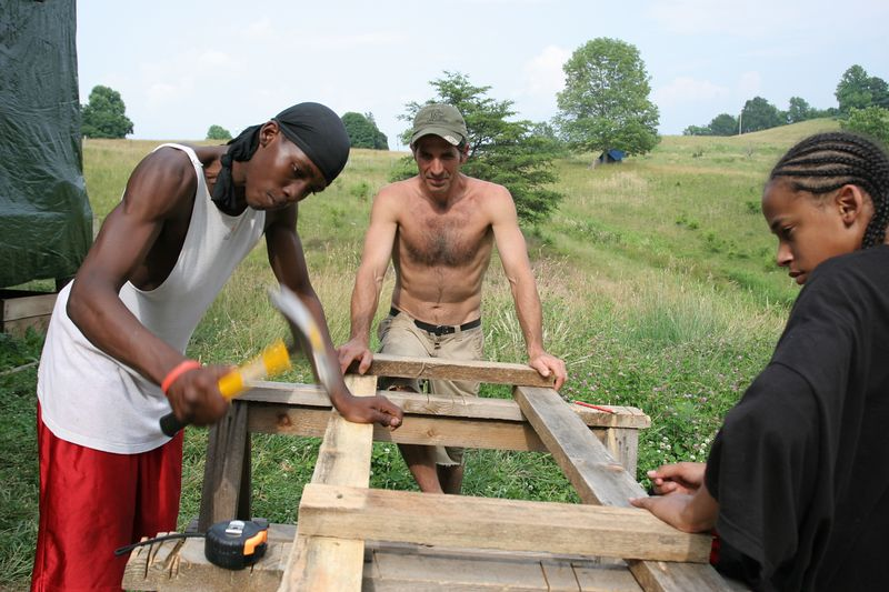 aaron, paul and travis building the frame for a new chicken coop