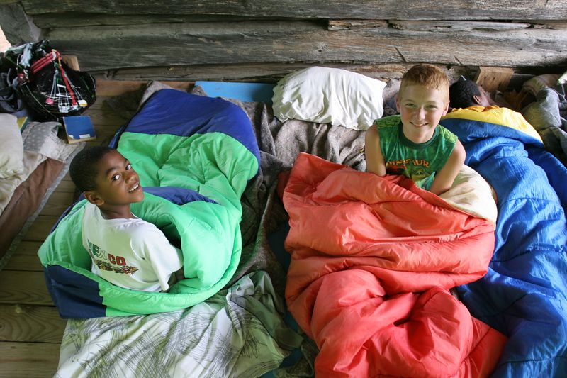 buddha and david waking up after their first night at camp.