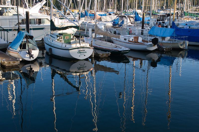 view of the marina at Winslow, Bainbridge Island