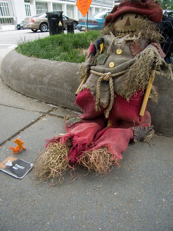doll belonging to homeless man, in park across from World Bank building