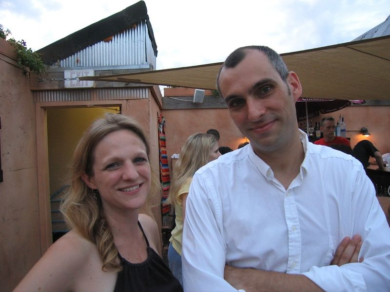 Katri and Francois on the roof of The Reef, celebrating Katri's birthday