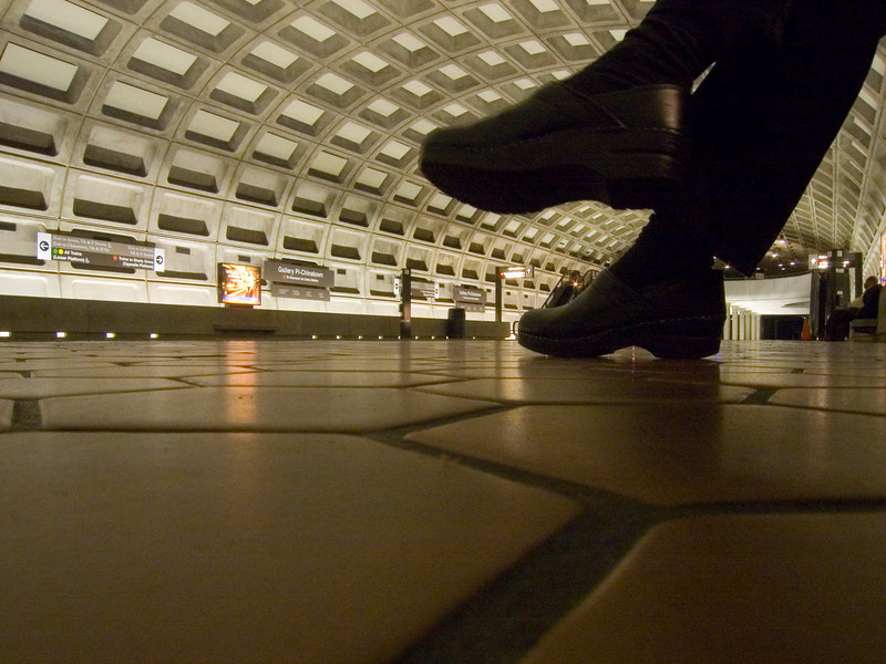 leigh with clogs at Gallery Place metro station
