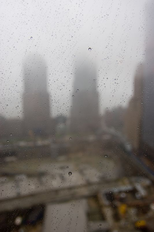 a rainy day greeted my arrival.  this was the view from my room at the Millenium Hilton in lower Manhattan, overlooking ground zero.