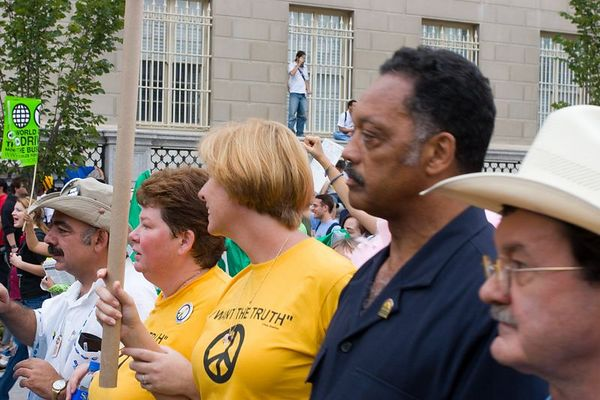 Cindy Sheehan and the Rev. Jesse Jackson, anti-war protest, Washington DC