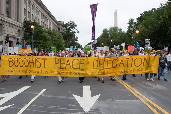 Bhuddist peace delegation, anti-war protest, Washington DC