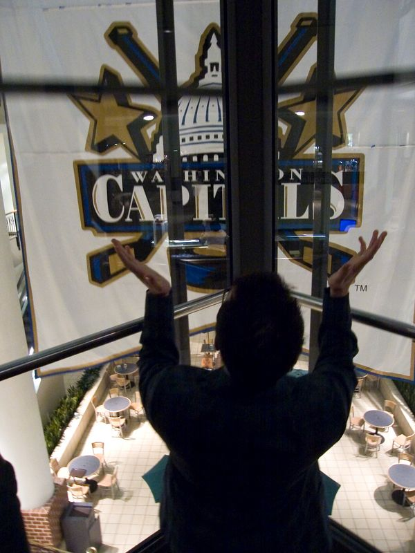 Revival led by Mike in the glass elevator at Ballston Commons Mall.