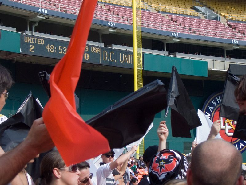 the foul pole can't hide DC United's name from the fans