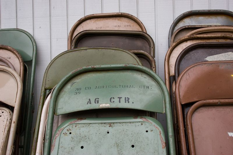 folding chairs at the fairgrounds