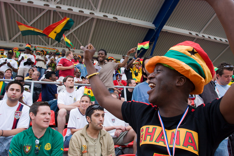 Ghana fans celebrate their first goal against the USA.