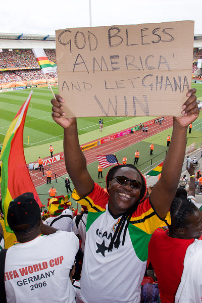 """God bless America and let Ghana win"".<br /> <br /> The Ghana fans were the friendliest I've ever encountered!"