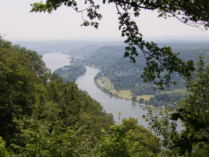 "View of the Rhine river from halfway up <a href=""http://en.wikipedia.org/wiki/Drachenfels_%28Siebengebirge%29"" target=""blank"">Drachenfels mountain</a> in the Siebenbirge near Bonn."
