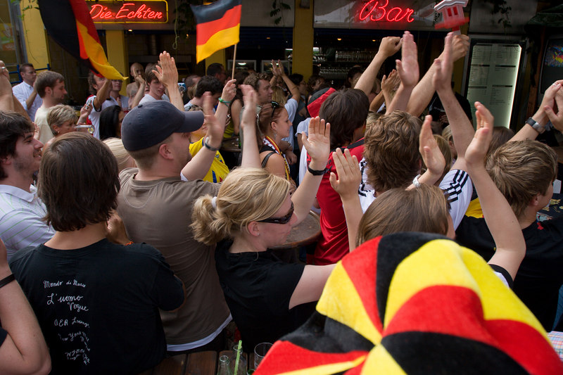 The final whistle blows and Germany celebrates.