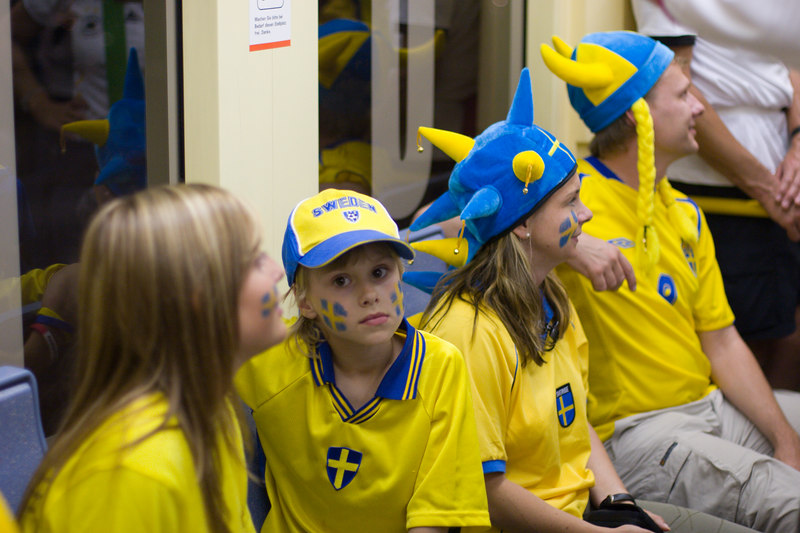 Swedish family on the tram from the stadium in Köln after Sweden's 2-2 draw with England.