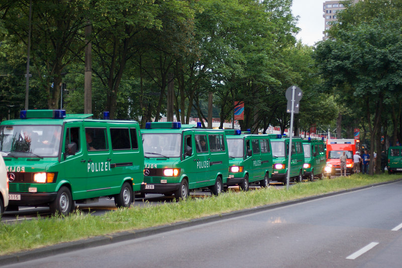 Plenty of police were on hand outside the stadium in Köln for the England Sweden game.