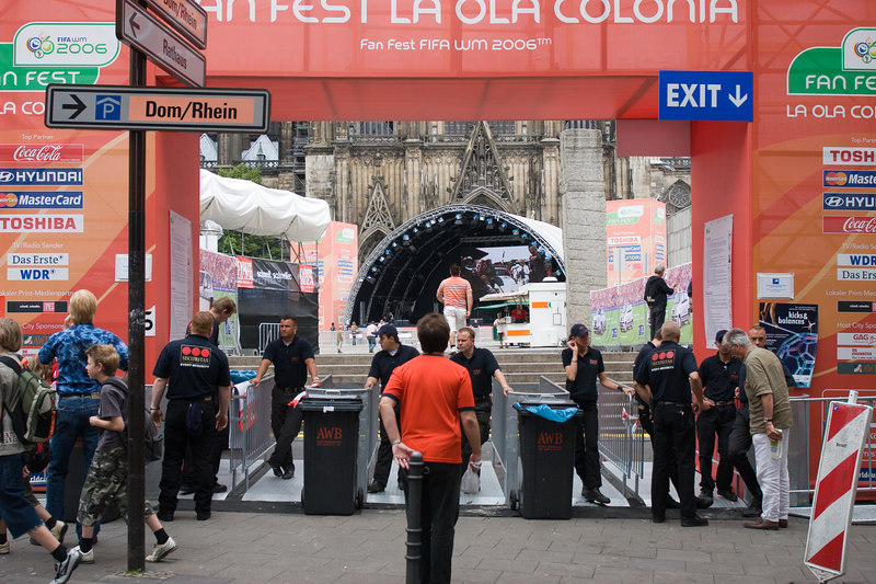 Entrance to the Fan fest area in Köln with the Dom (cathedral) behind.