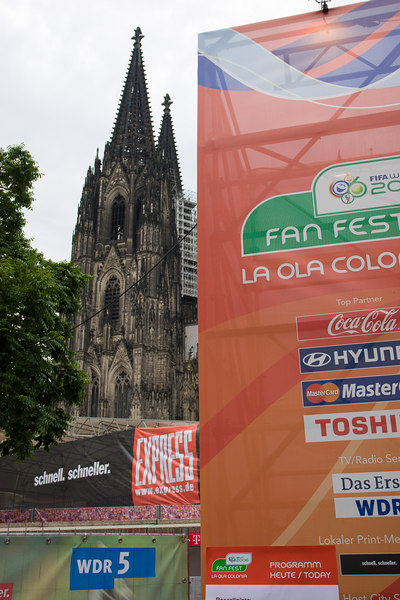 Old meets new - Fan fest area in Köln with the Dom (cathedral) behind.