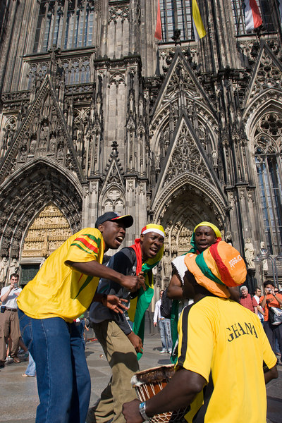 Ghana fans in front of the Dom (Cathedral) in Köln, anticipate victory a few hours before their game there with the Czech Republic.  (Ghana ended up winning 2-0).