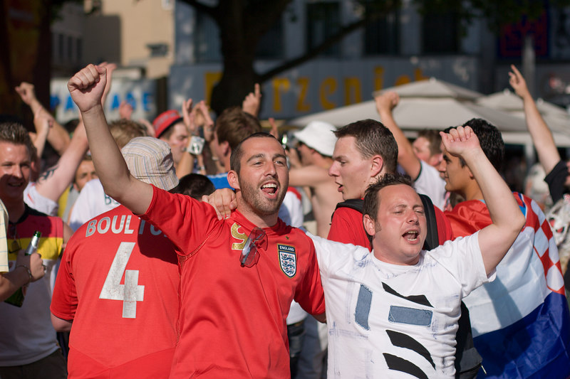 England fans singing in a square in Köln.