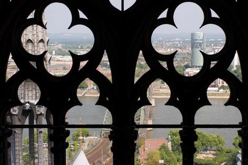 Eastern view of Köln from the top of its famous gothic Dom (Cathedral)