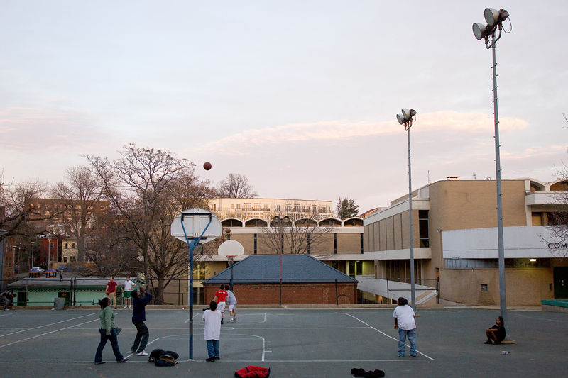 playing ball at dusk at the Marie Reed Community Center, Adams Morgan
