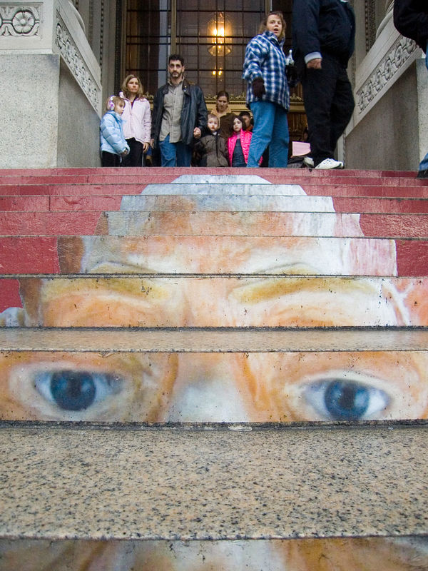 entrance to the Frankin Institute with Body Worlds marketing painted on the steps