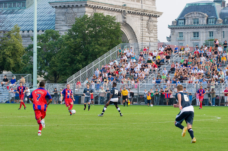 """One side of the """"main stand"""" of bleachers at the Naval Academy ground in Annapolis, Maryland."""