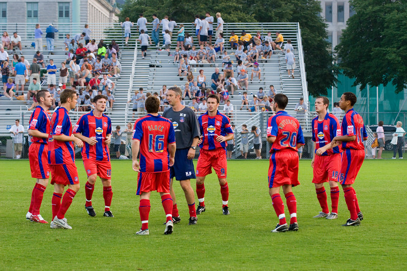 Kit Symons warms up eight of the second half team.  Players from left to right: Mark Kennedy, Danny Granville, John Macken, Tommy Black, Dougie Freedman, Danny Butterfield, Gary Borrowdale, Lewwis Spence.