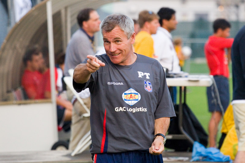 Peter Taylor celebrates the immediate success of his half time suggestion to attack the far post, which ended up with Tommy Black scoring at the near post a minute into the second period...