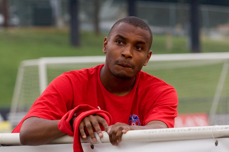 Clinton Morrison looking contemplative on the bench before kickoff.